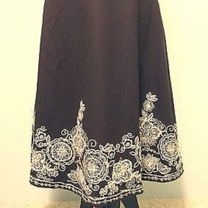 Boden Floral Embroidered Wool Blend Midi Skirt